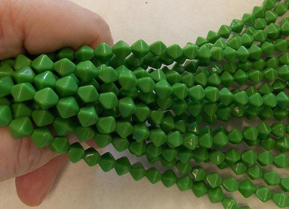 Czech Glass Beads, CZ31, Opaque Green, 1 strand