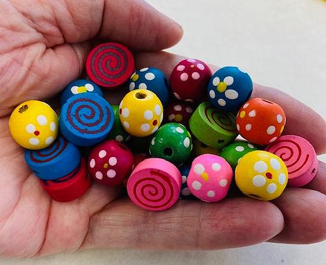 Handpainted Bright Wood Beads, pack