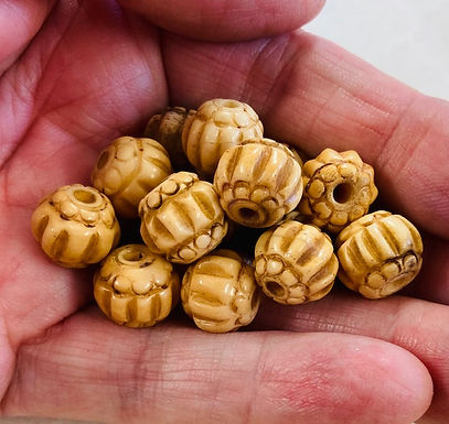 Round Carved Bone Beads, package