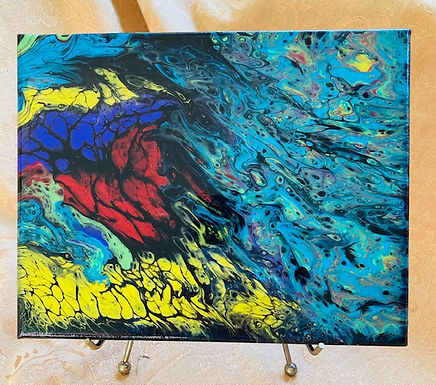 """Abstract Art Painting, """"Colors"""" red, yellow, green, purple, blue, black"""
