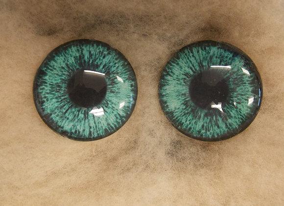 Glass Eyes, Large, Flat Back, Aqua, 1 pair, choose size