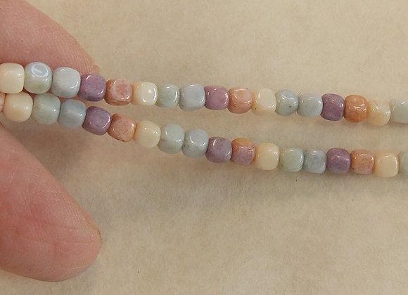 Czech Glass Beads, CZ42, Cube Mix, 1 strand