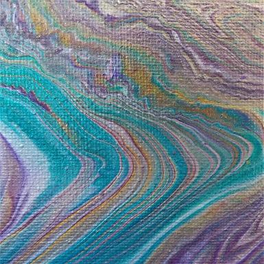 "Abstract Art Painting, #30, ""Metallic Layers"", aqua, purple, 24k gold, silver"