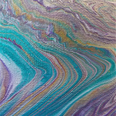 "Abstract Art Painting, #30, ""Metallic Layers"", aqua, purple, 24k gold, silver"