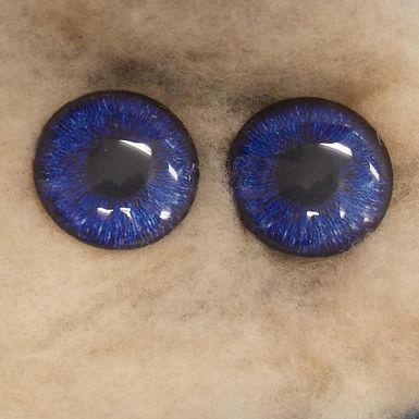 Glass Eyes, Large, Flat Back, Dark Blue, 1 pair, choose size