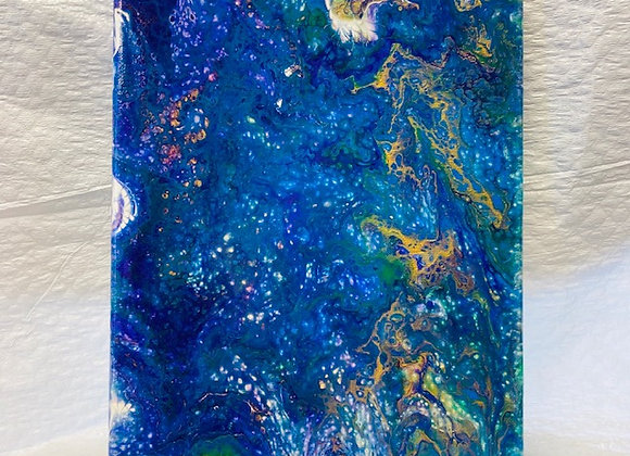 "Abstract Art Painting, ""A Million Stars"", blue, gold, green, purple, white"