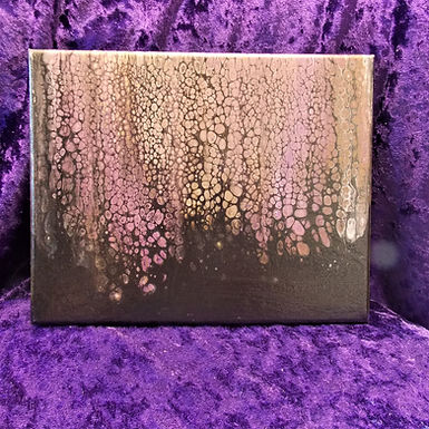 """Abstract Art Painting, #28, """"Contemplation"""", mauve, copper, 24k gold, black"""
