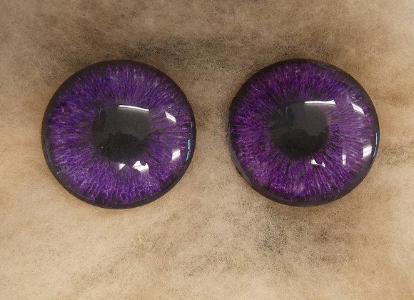 Glass Eyes, Large, Flat Back, Violet, 1 pair, choose size