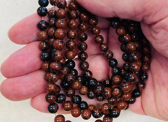 Beads, Mahogany Obsidian, 6mm rounds, 1 strand