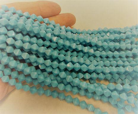 Czech Glass Beads, CZ20, Opaque Blue, 1 strand
