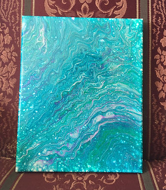 "Fluid Art Painting, ""Shades of Aqua and Blue"" (#19)"