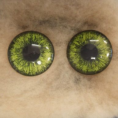 Glass Eyes, Large, Flat Back, Light Green, 1 pair, choose size