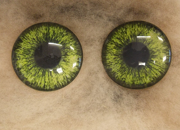 Glass Eyes, Large, Flat Back, LT Green, 1 pair, choose size