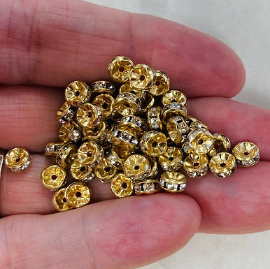 Halo, Crystals and Gold, 4mm, 5 pack