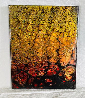"Abstract Art Painting, ""Flames"",  red, orange, yellow on black (#21)"