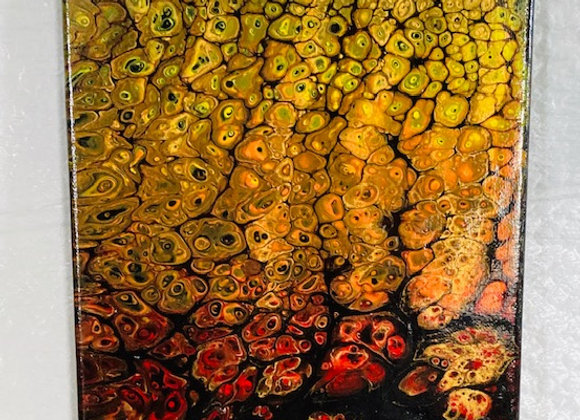 """Abstract Art Painting, """"Flames"""",  red, orange, yellow on black (#21)"""