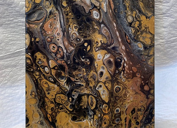 "Abstract Art Painting, ""Metal Mania"", metallic: bronze,copper,silver,gold,black"