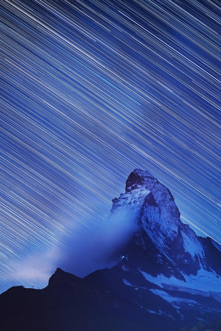 Star trails and clouds