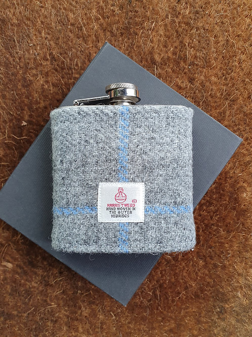 Ridley hip flask with Harris Tweed - grey