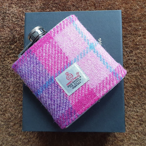 Ridley hip flask with Harris Tweed - pink
