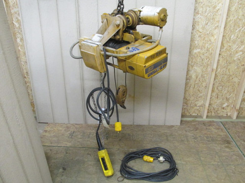 acco wright-way 34-15 1/2 ton electric cable wire rope hoist w/power trolley