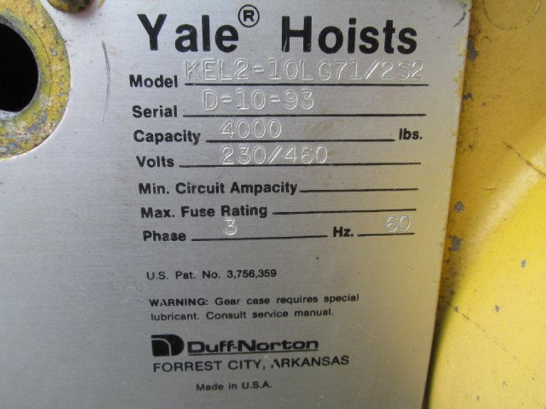 Yale KEL2 10LG71/2S2 Electric Overhead Chain Hoist 2 Ton 12' Ft. Lift Kel Yale Hoist Wiring Diagram on