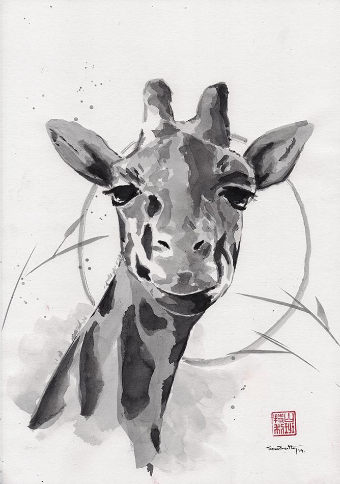Giraffe Sumi-e