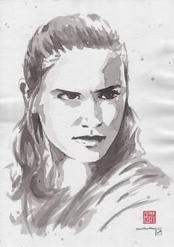 Daisy Ridley (as Rey) Sumi-e