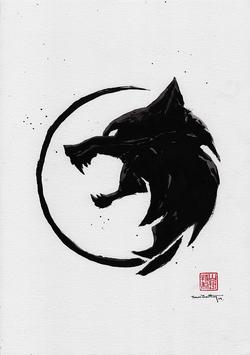 School of the Wolf Sumi-e