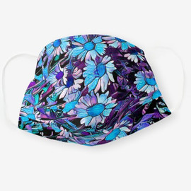 Blue and Purple Daisy Flower Cloth Face Mask