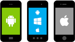 mobile phones with different patforms (Android, Windows Mobile, and iOS)