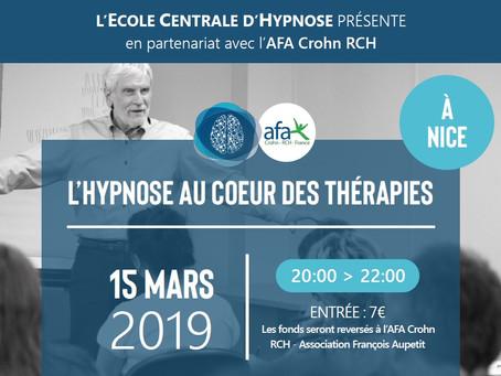 15.03.2019 - 20h/22h Conférence L'HYPNOSE AU CŒUR DES THÉRAPIES