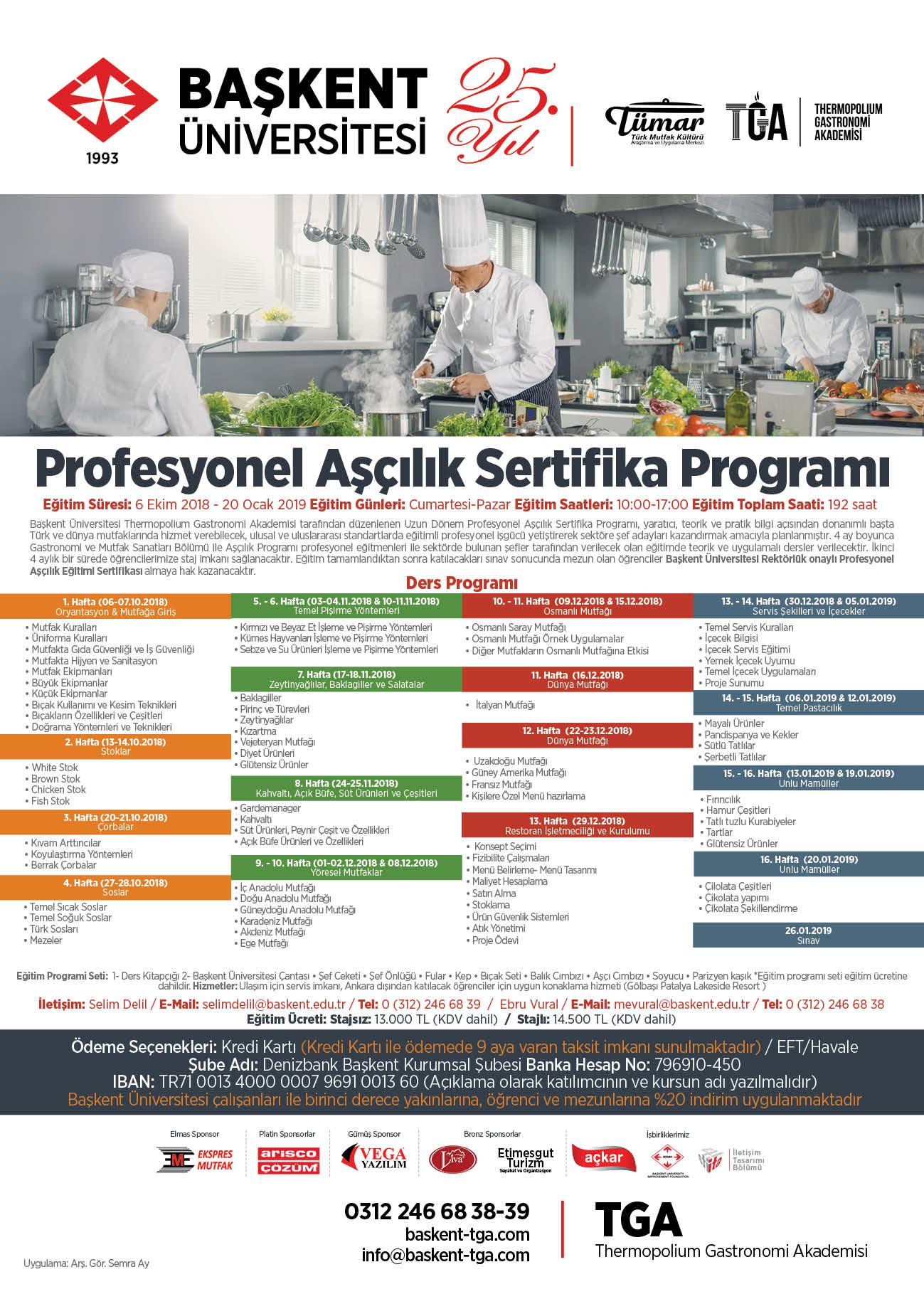 TGA Sertifikalı Aşçılık Eğitimi(Ekim 201