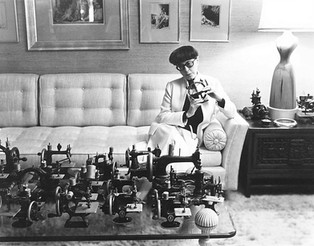 Edith Head and Her Miniature Sewing Machine Collection — Miss Head's Bungalow, May 5, 1977