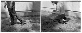Distracted Mid-Stride, Spike-Heeled Man Kneels to Read, 1975