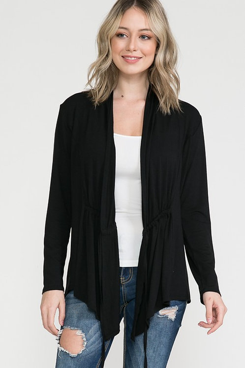 Make All Moments Count Black Front Tie Cardigan