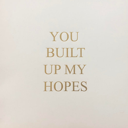 YOU BUILT UP MY HOPES  30cm x 30cm 2021 limited edition 50