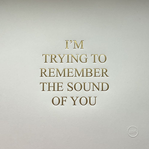 I'M TRYING TO REMEMBER THE SOUND OF YOU