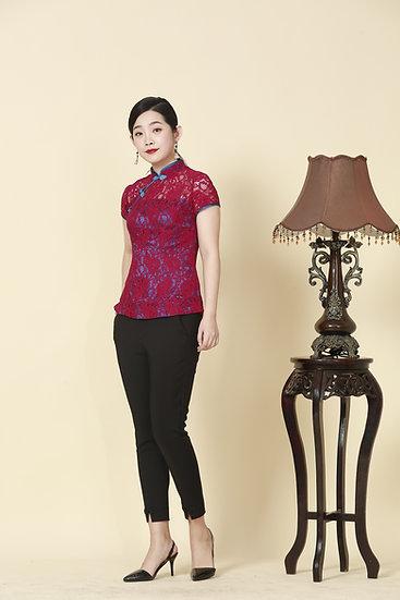 Scarlet Beauty Lace Cheongsam Blouse