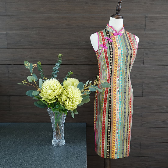 Festive Vintage Rainbow Cheongsam Dress