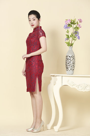 Scarlet Rubellite French Lace Cheongsam Dress