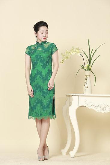 Jade Opal Chantilly Lace Cheongsam Dress