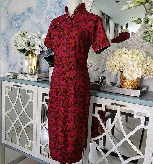 Vintage Claret Roses Cheongsam Dress