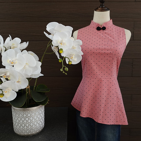 Lovely Blushing Dots Cheongsam Blouse