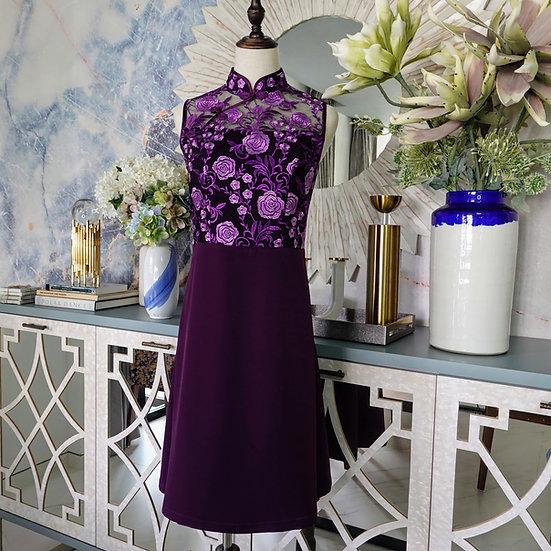 Violette Lilac Rosette Lace Cheongsam Dress