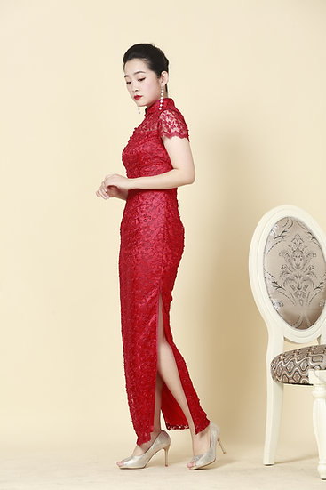Imperial Ruby French Lace Cheongsam Gown