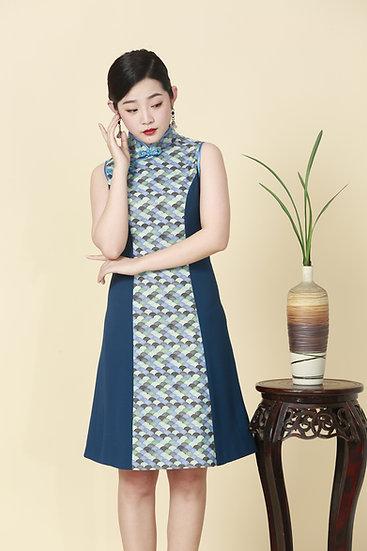 Seigaiha Wave Kimono Cheongsam Dress
