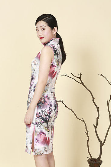 Cherry Blossoms Silk Cheongsam Dress