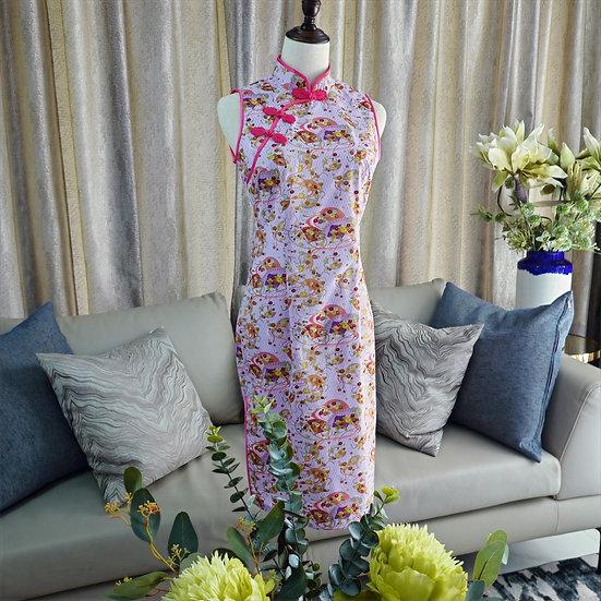 Lavender Hana Sensu Cheongsam Dress