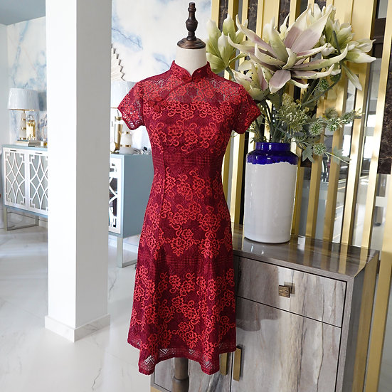 Almandine Rosa Floral Lace Cheongsam Dress